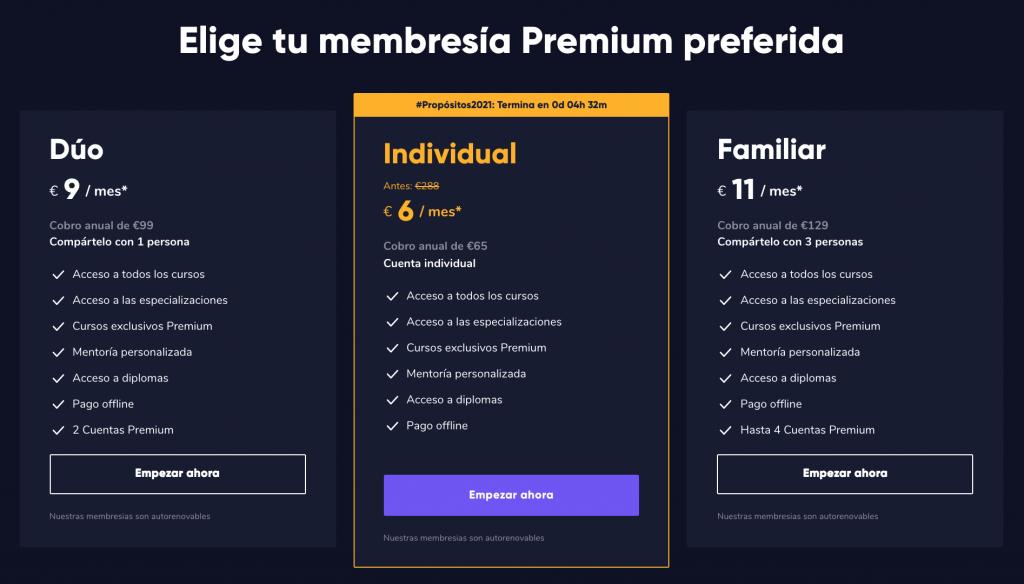 Precio de las membresías de Crehana - SoloEduca