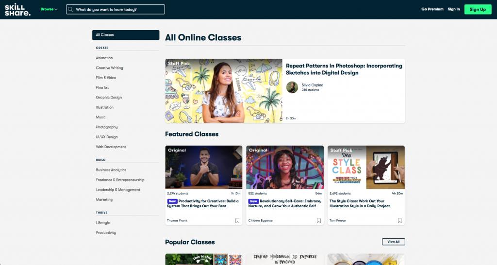 Página web de Skillshare