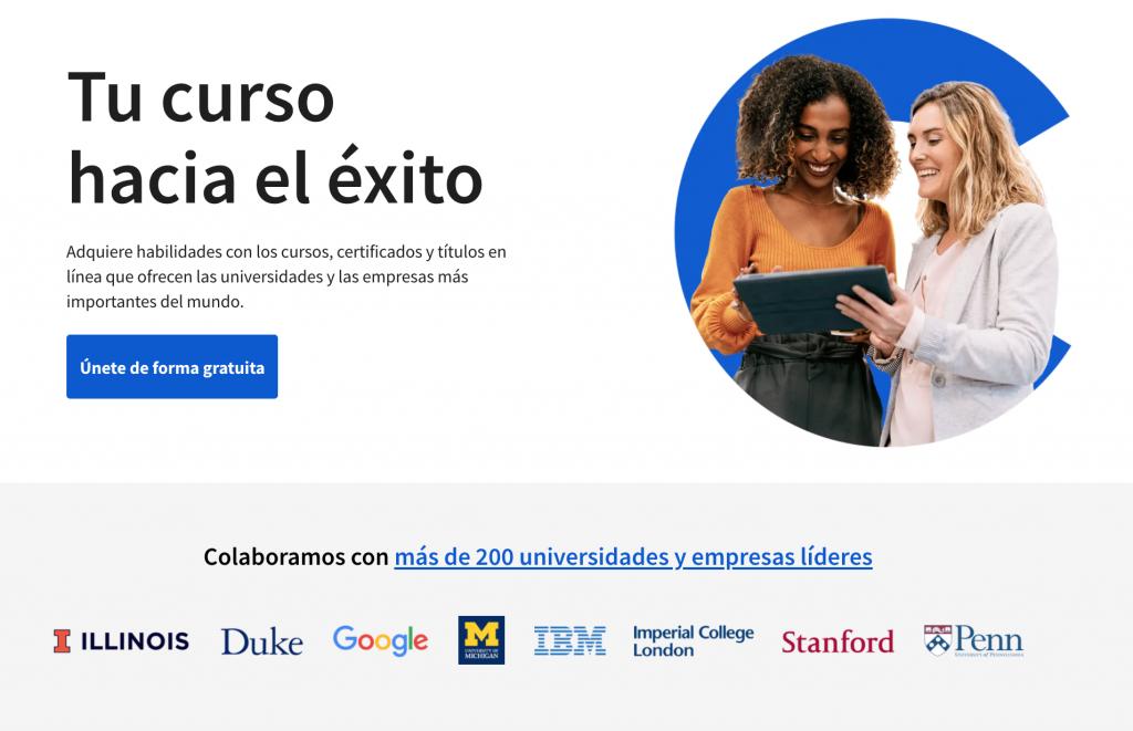 Captura de la página web de Coursera