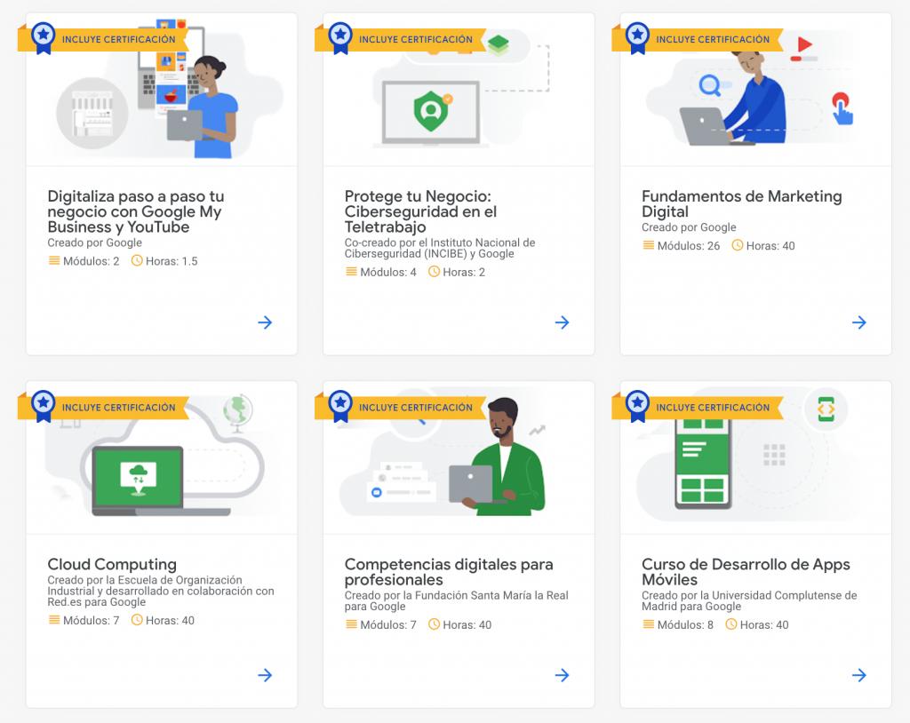 Pantalla de cursos gratis de Google Actívate