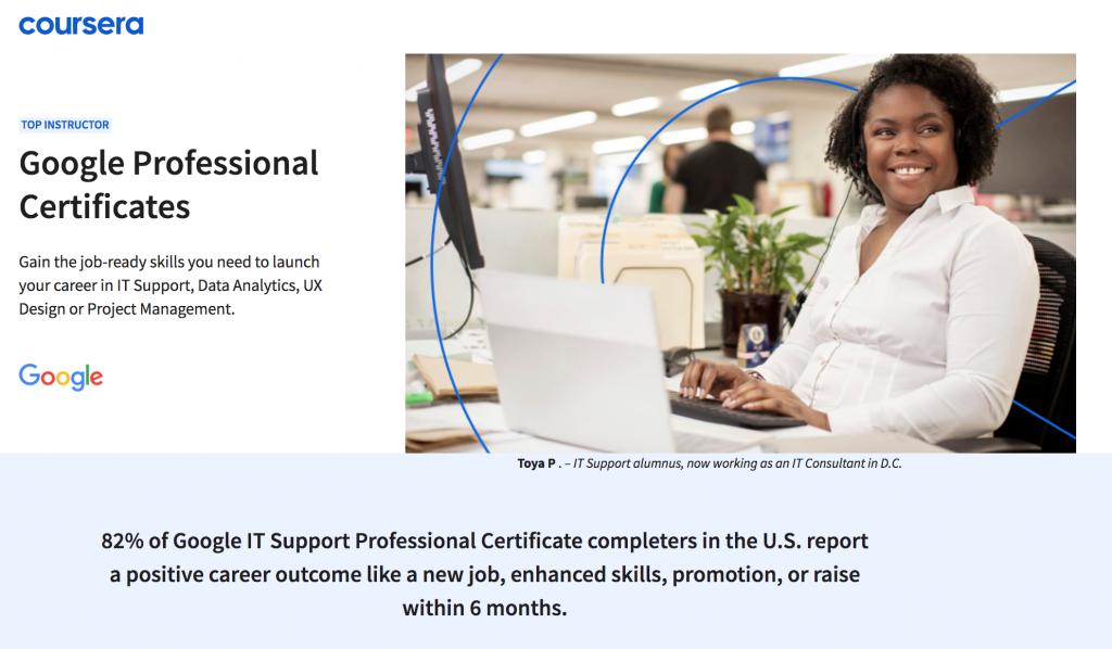 Portada de certificaciones profesionales y cursos de Google en Coursera