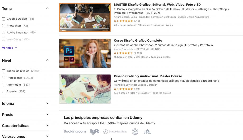 Cursos de diseño gráfico online en Udemy
